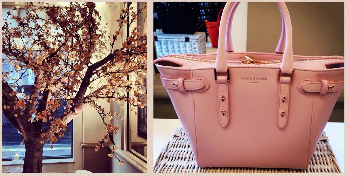 London Fashion Week - Cherry blossom and pink Aspinal of London mini Marylebone handbag