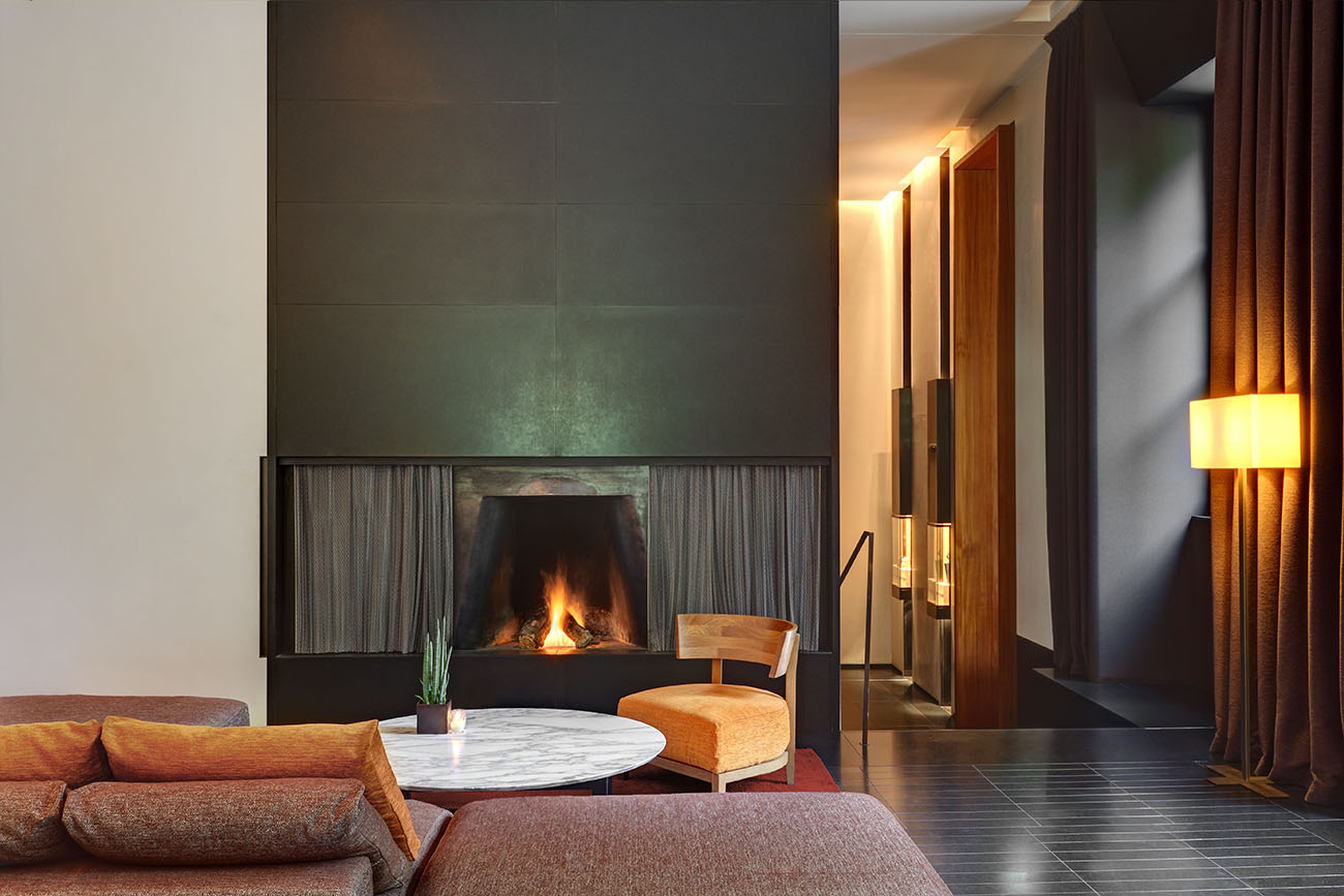 Bulgari Hotel Milan Lobby Fireplace