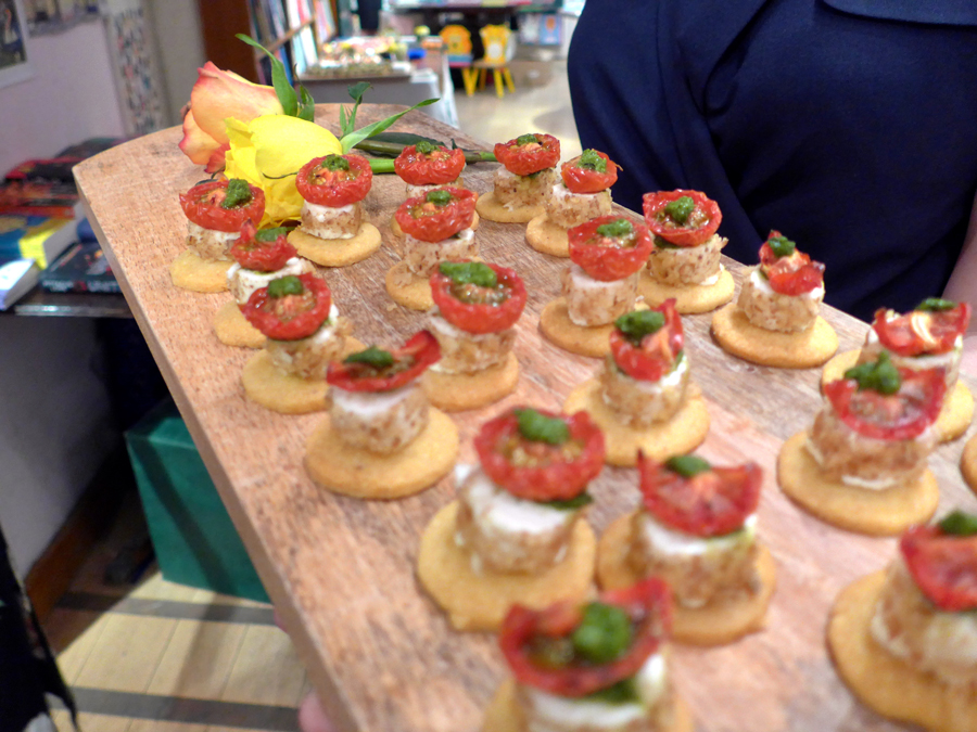 Canapes for Talulah Riley's book launch - Acts of love in Daunt Books