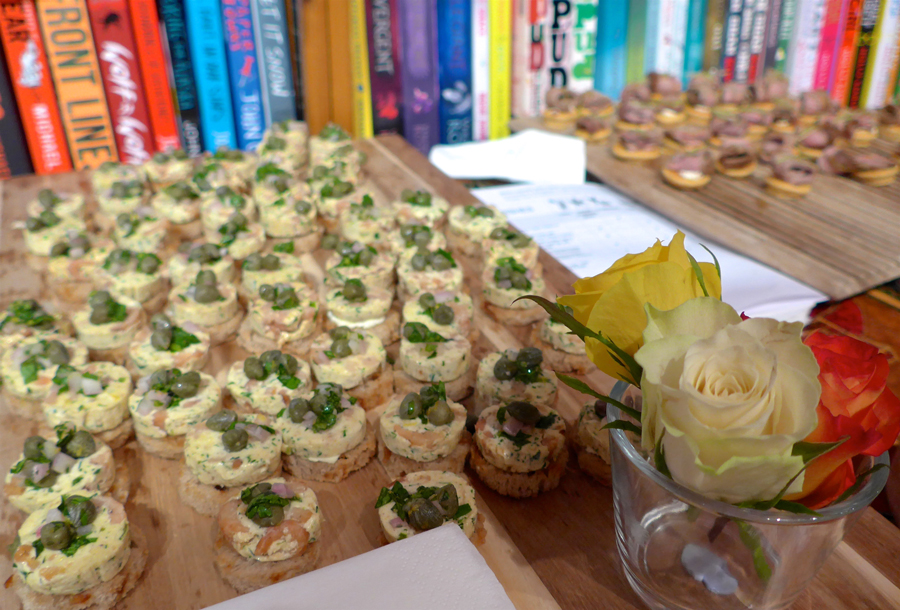 Canapes for the Acts of Love book launch by Talulah Riley in Daunt Books