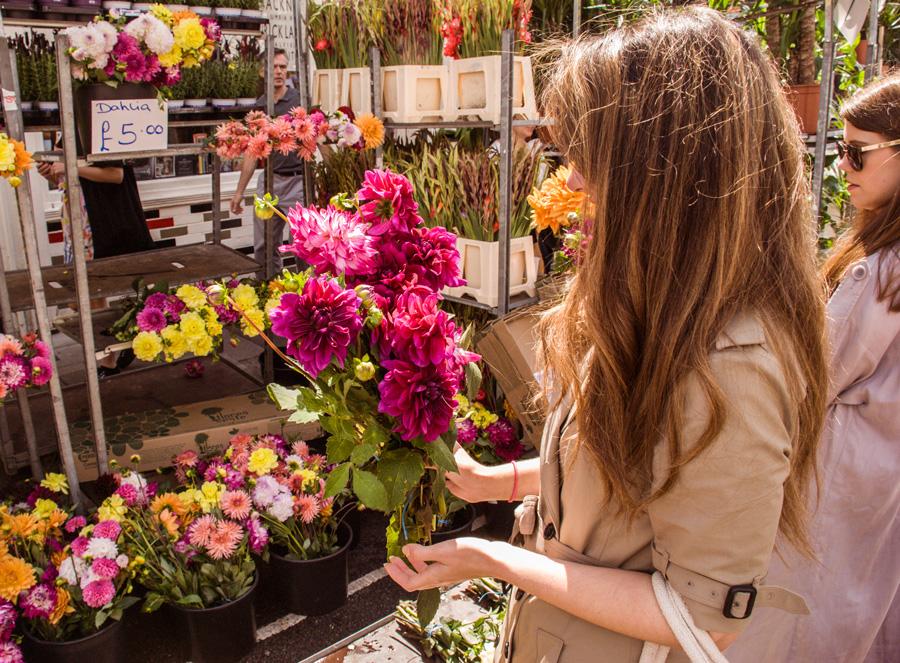 Columbia Road Flower Market Dahlia stall