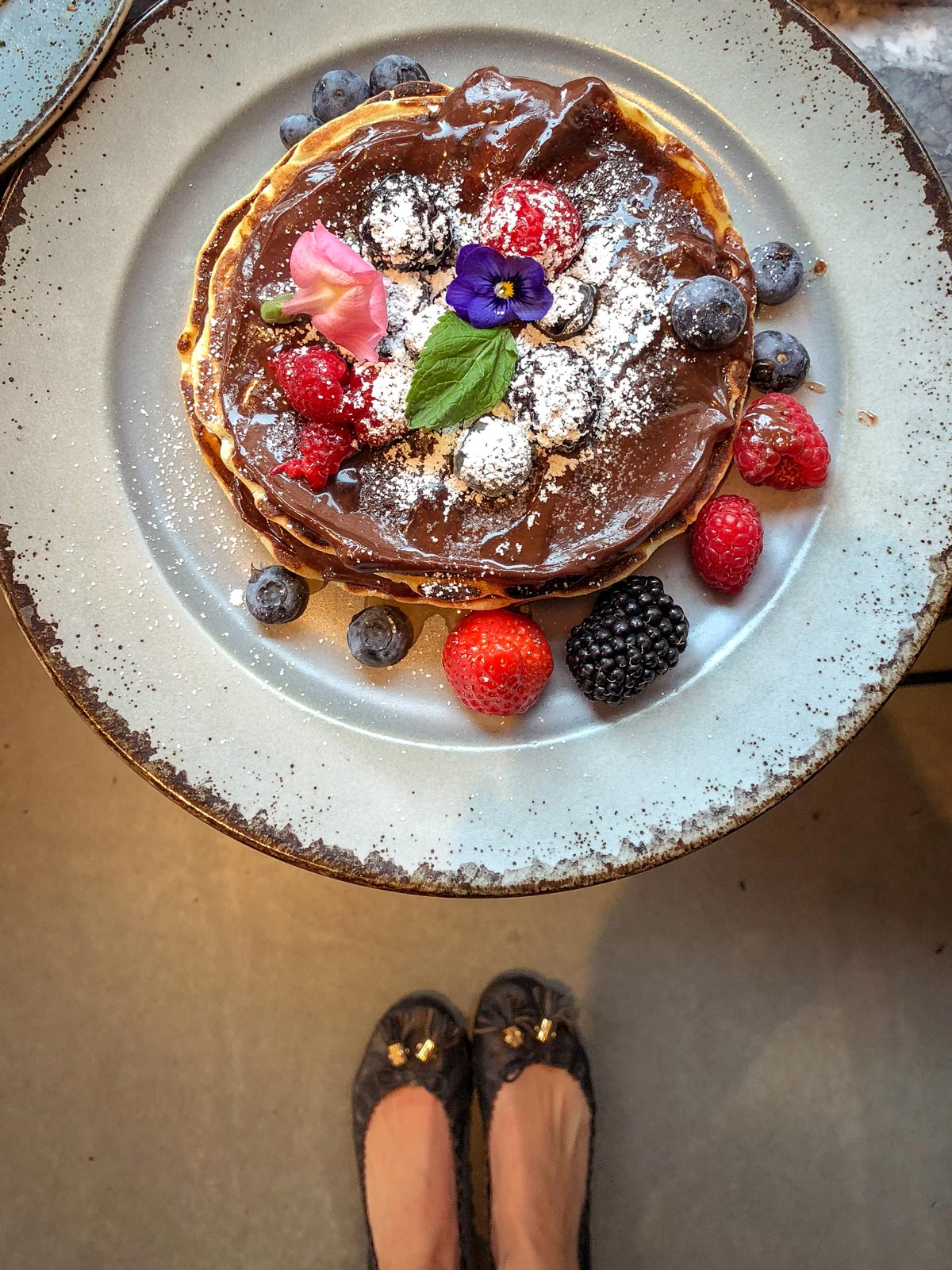 Chocolate Pancakes. Flower Pancakes in London. 39 Steps Coffee Haus