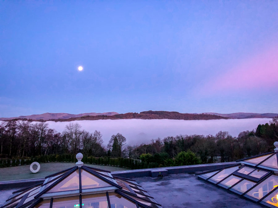 Linthwaite House Hotel Lake District - Bowness-on-Windermere - Leeu Collection - deluxe room view over lake windermere at sunrise