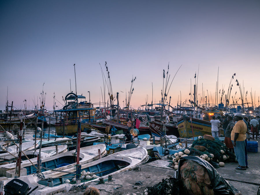 Beruwala Fish Market Sri Lanka at Sunrise