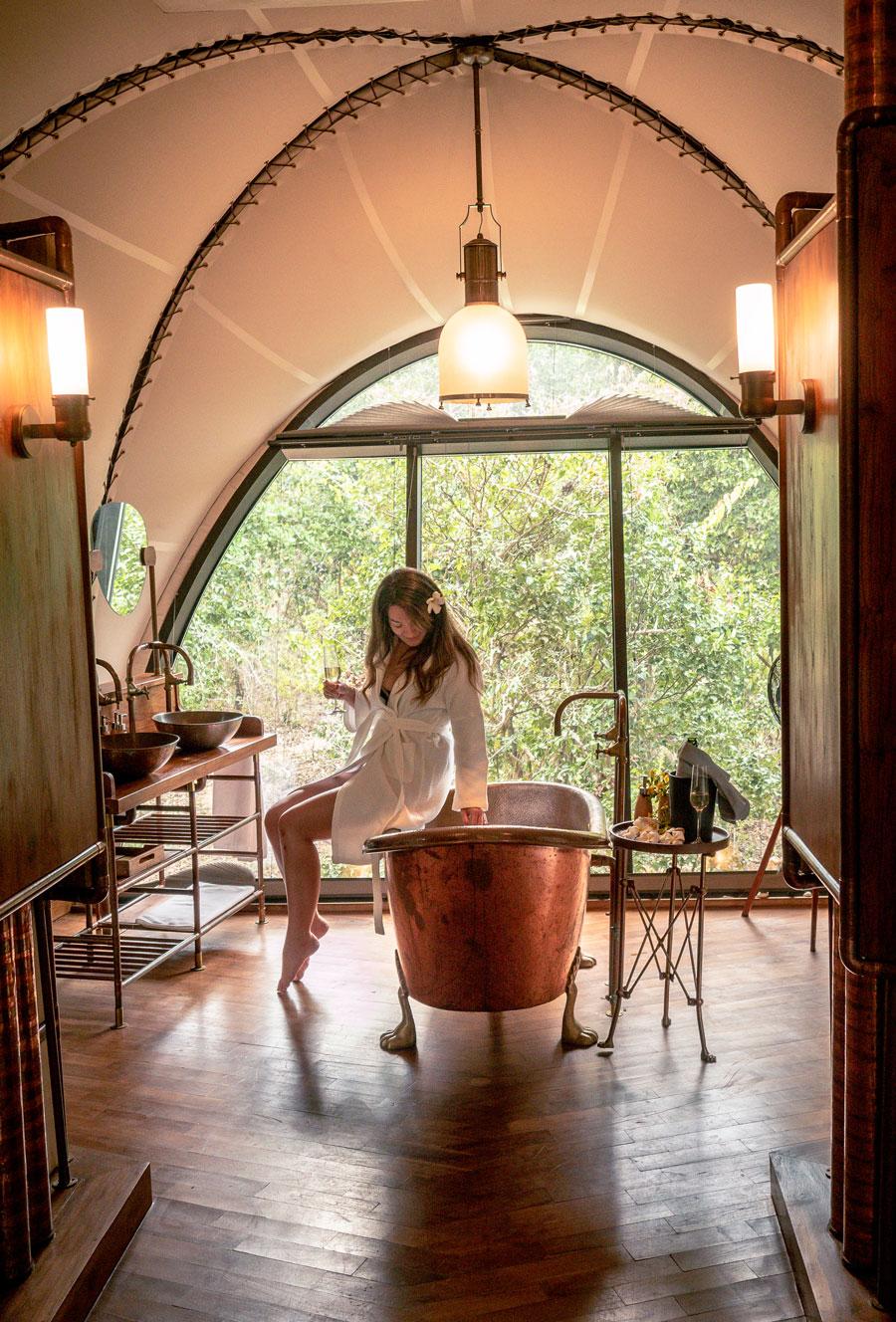 Copper Bath Tub Wild Coast Tented Lodge Sri Lanka Yala