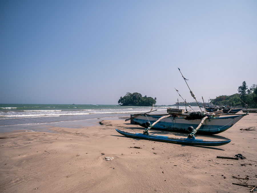 Mirissa beach. Traditional boat Sri Lanka