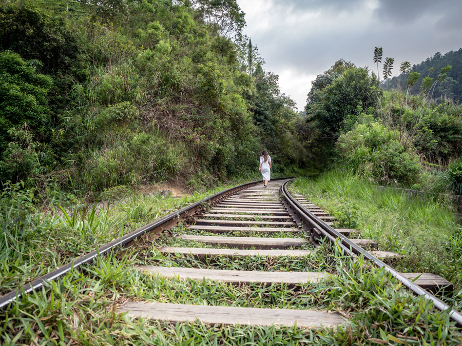 Walking-on-railway-tracks-Ella-Sri-Lanka
