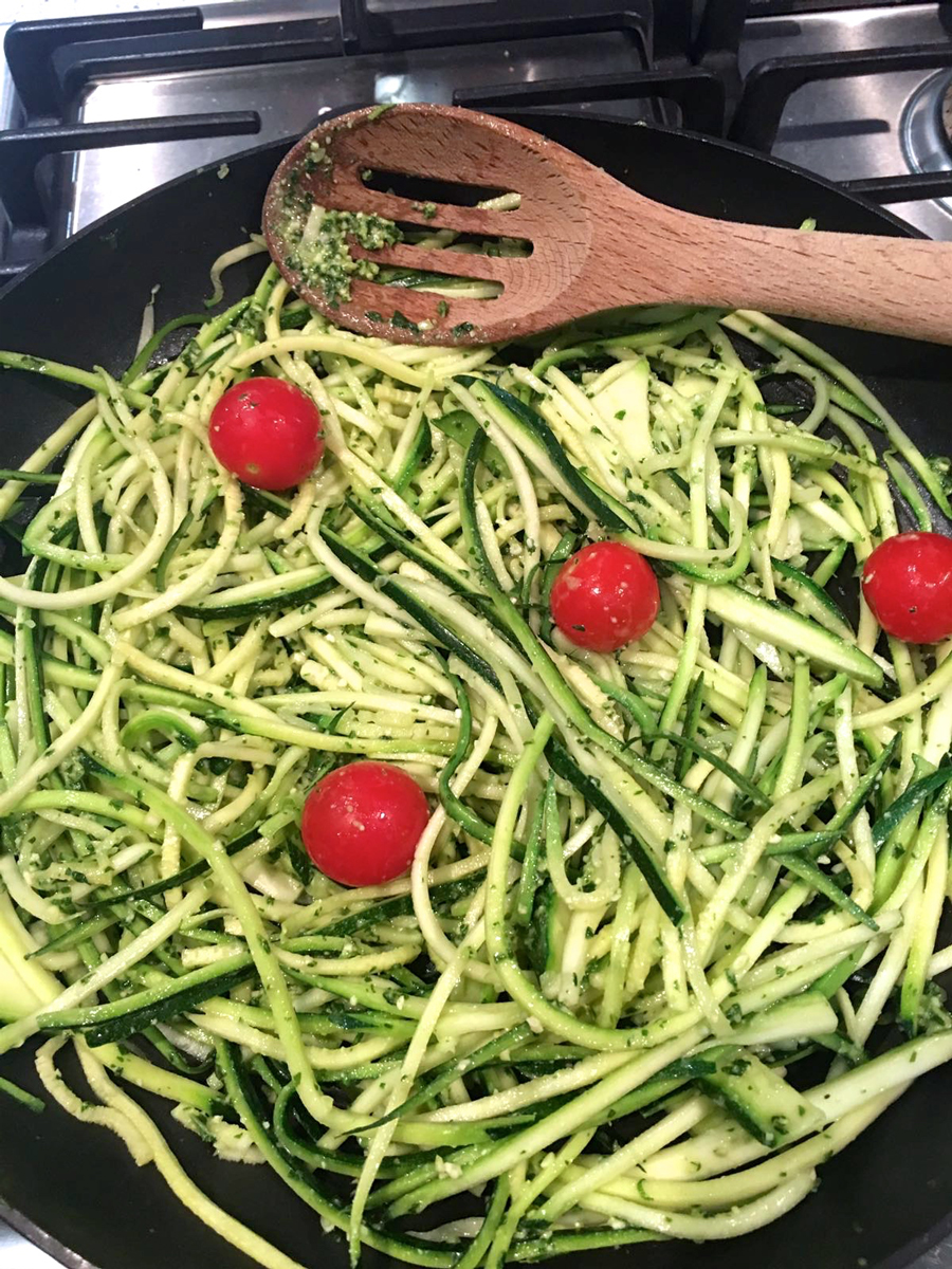 Cooking courgetti and homemade pesto