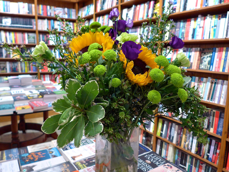 Flowers in Daunt Books Holland Park for Talulah Riley Acts of Love book launch