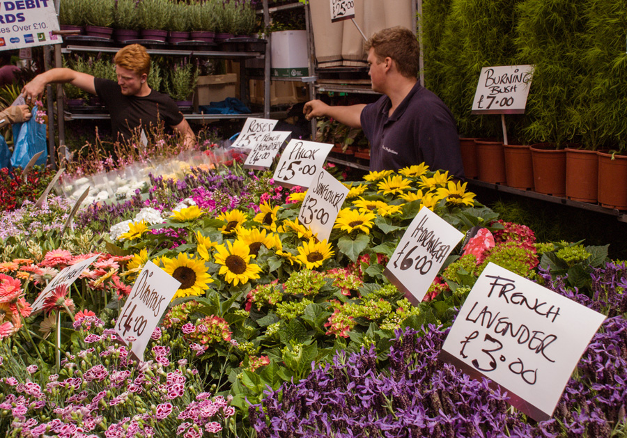 Columbia Road Flower Market Traders at stall