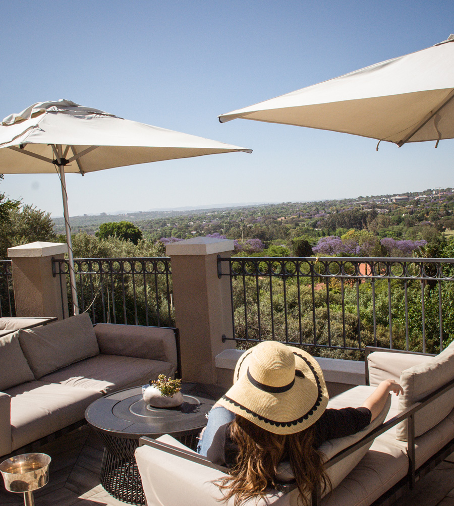Four Seasons The Westcliff Johannesburg, Terrace view of Jacaranda Trees - best places to see Jacaranda trees in bloom in Johannesburg