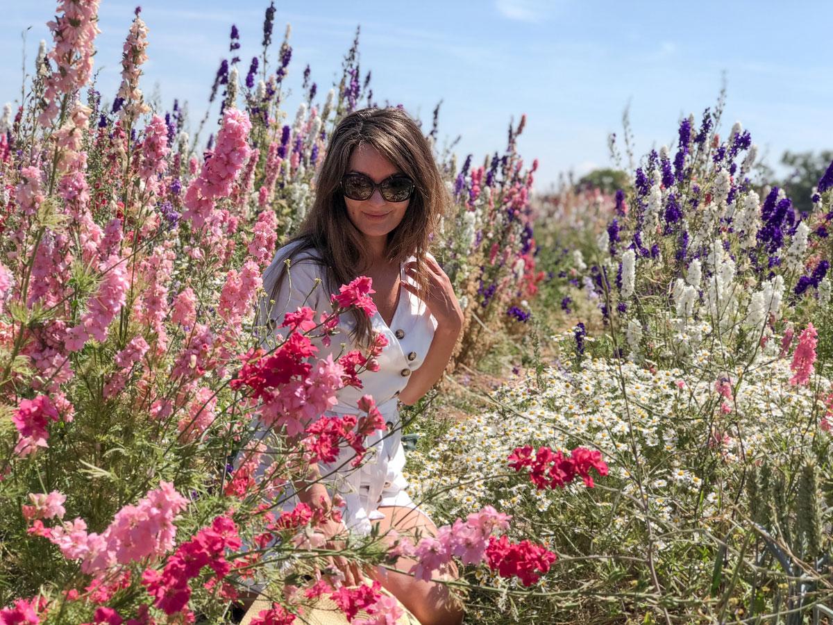 Cotswold Flower Fields - The Real Flower Petal Confetti Company Delphiniums - In the flowers