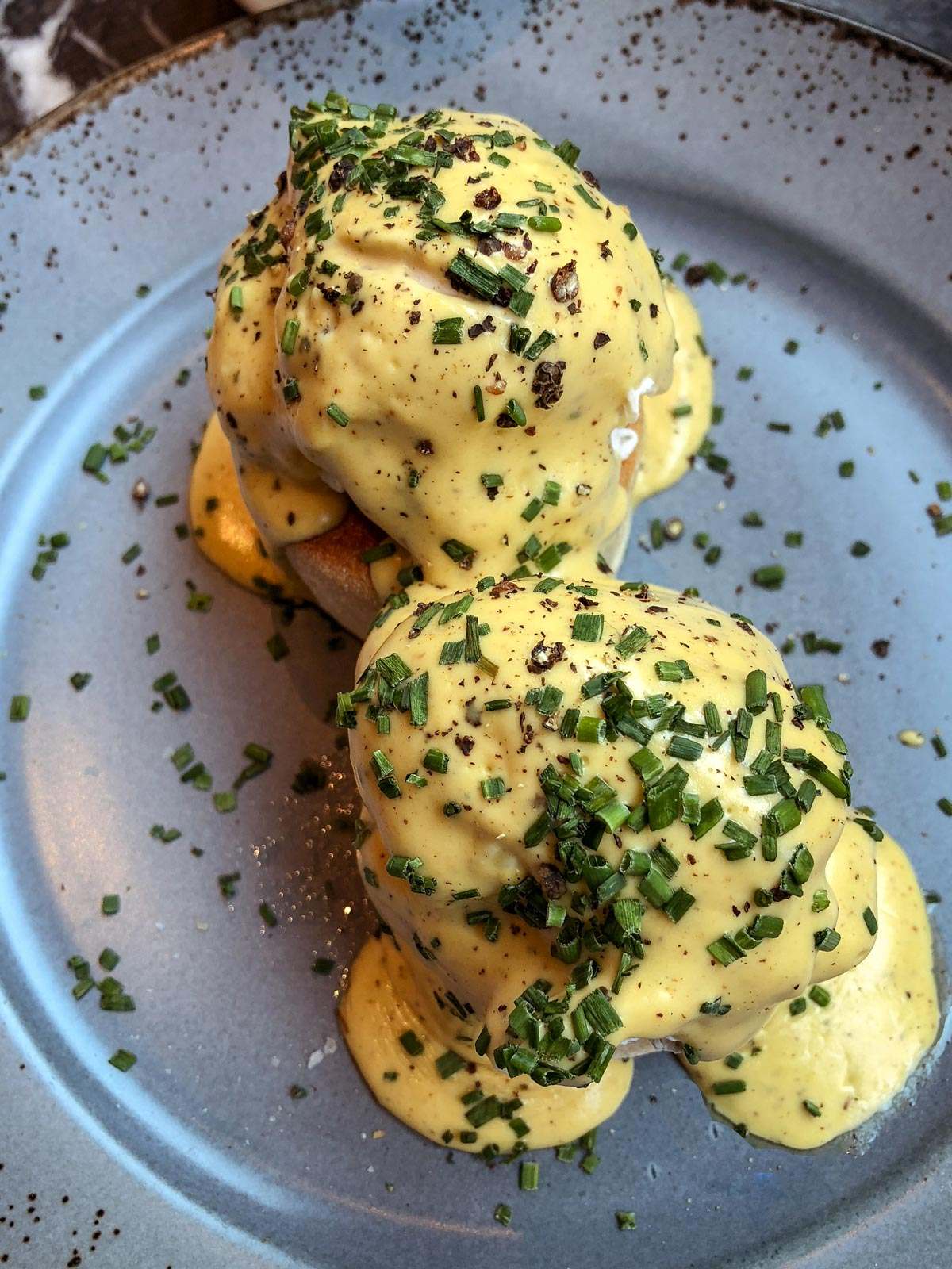 39 Steps Coffee Haus. Eggs with hollandaise sauce on English Muffins.