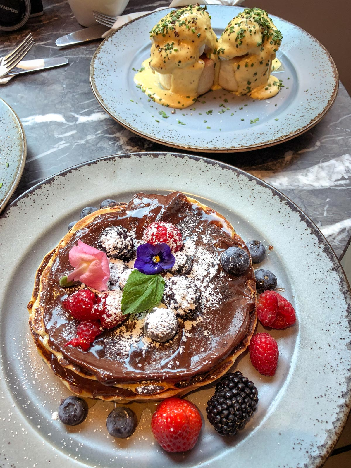 39 Steps Coffee Haus Soho. Chocolate Pancakes London. Brunch in London