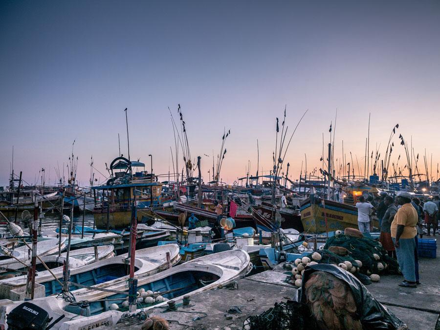 Beruwala Fish Market Sri Lanka at Sunrise